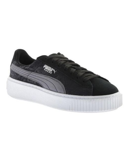 PUMA Gray Suede Platform Safari Sneaker Lyst