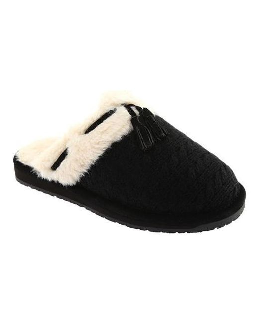 Clarks - Black Knit Tassel Clog Slipper - Lyst