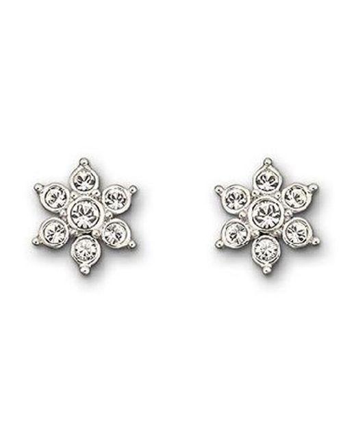 Swarovski - Metallic Pansy Pierced Earrings - Lyst