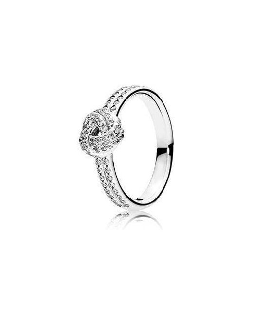 Pandora - Metallic Sparkling Love Knot Clear Cz Ring Size 7 - Lyst
