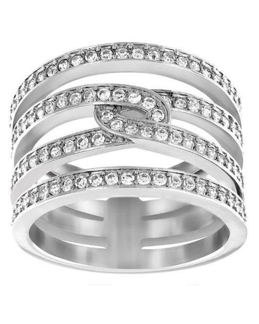Swarovski - Metallic Creativity Rhodium-tone Crystal Ring - Lyst
