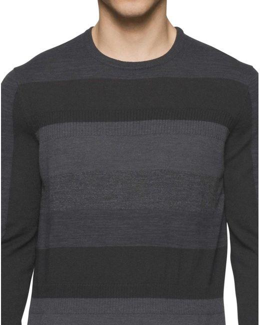 Lyst - Calvin klein Italian Yarn Striped Crewneck Sweater Black ...