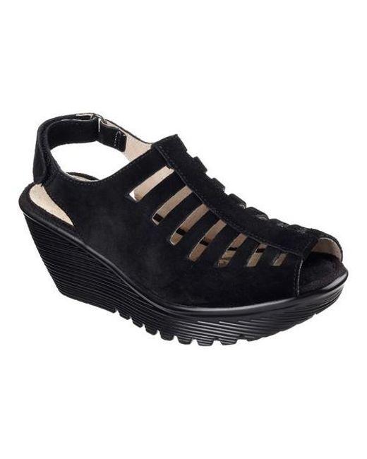 Women's Black Parallel Trapezoid Platform Wedge Sandal