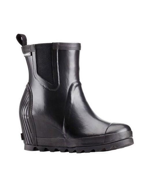 Sorel - Black Joan Rain Wedge Chelsea Boot - Lyst