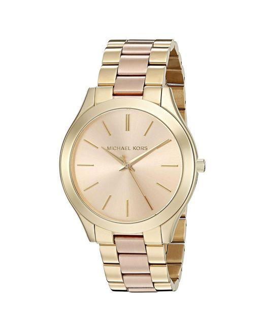 6c33bb07aefe Lyst - Michael Kors Slim Runway Pink Dial Ladies Watch in Metallic ...