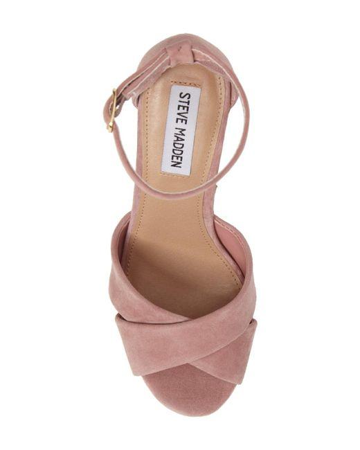 209cdb6c341 ... Steve Madden - Pink Striking Leather Open Toe Special Occasion Platform  Sandals - Lyst ...