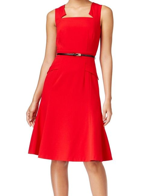 Calvin Klein | Red Womens Notch Neckline Pleated Wear To Work Dress | Lyst