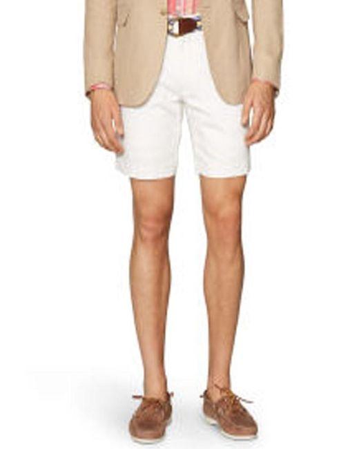 Polo Ralph Lauren   White Mens Straight Linen-cotton Shorts for Men   Lyst