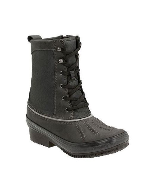 Clarks - Black Cushion Soft Carima Luna Leather-blend Mid-calf Boots - Lyst