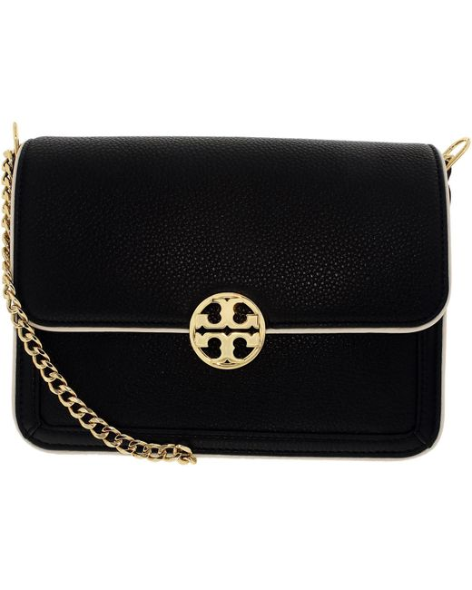 Tory Burch | Black Duet Chain Convertible Leather Shoulder Bag | Lyst