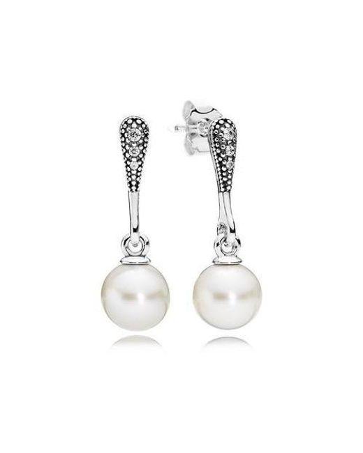 Pandora | Elegant Beauty White Pearl & Clear Cz Earrings | Lyst