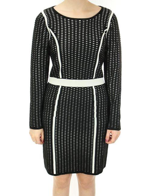 Calvin Klein   Black Textured Long Sleeves Sweater Dress (m   Lyst