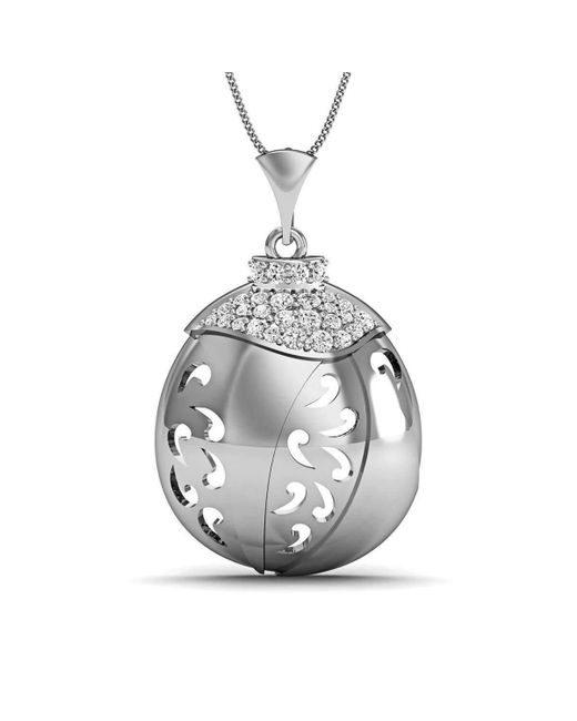 Diamoire Jewels | Metallic Hand-carved 18kt White Gold And Diamonds Pave Pendant | Lyst