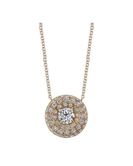 Harry Kotlar | Metallic Round Diamond Solitaire Chevron Artisan Pave Necklace | Lyst