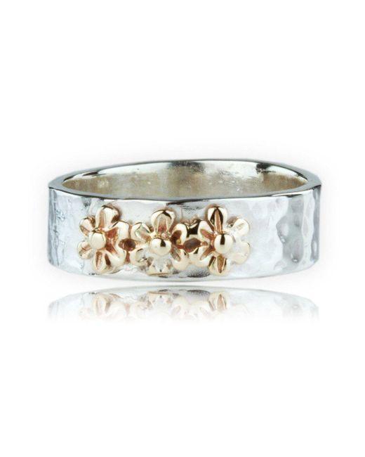 Lavan - Metallic Handmade 9kt Gold And Silver Flower Ring - Lyst