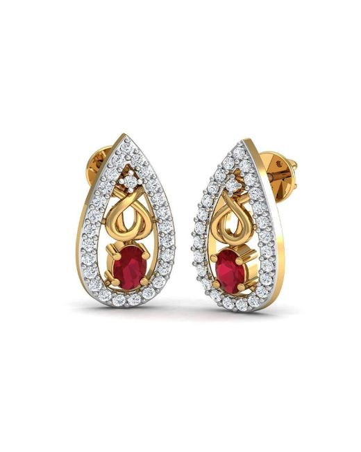 Diamoire Jewels - Metallic African Oval Cut Ruby And Diamond Earrings Hand-carved In 10kt Yellow Gold - Lyst