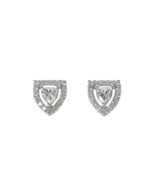 Ri Noor - Metallic Shield Solitaire Diamond Stud Earrings - Lyst
