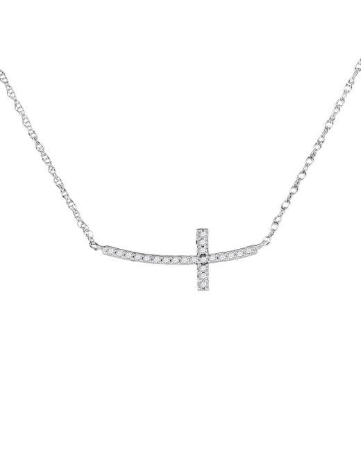 Cosanuova - Metallic Diamond Horizontal Cross Necklace In White Gold - Lyst