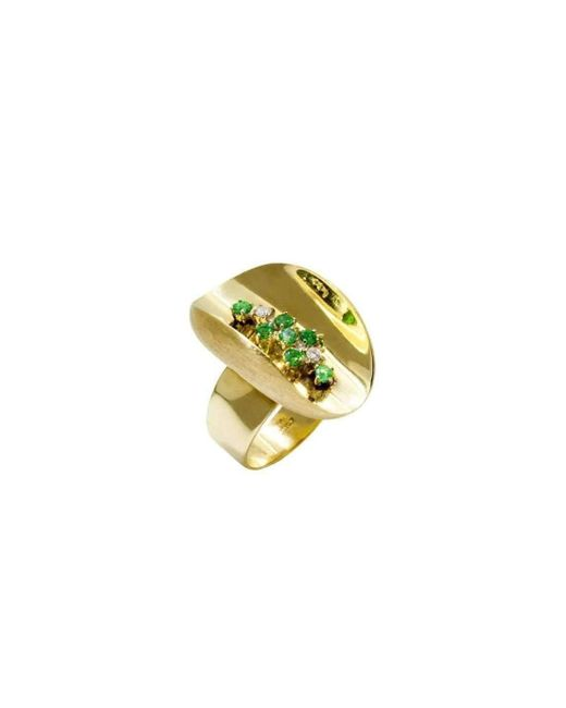 Daou Jewellery - Multicolor Ellipse Emerald And Diamond Ring - Lyst
