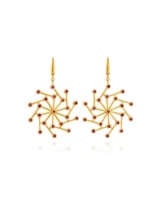 Ayalla Joseph - Metallic Cosmos Earrings With Red Spinel - Lyst