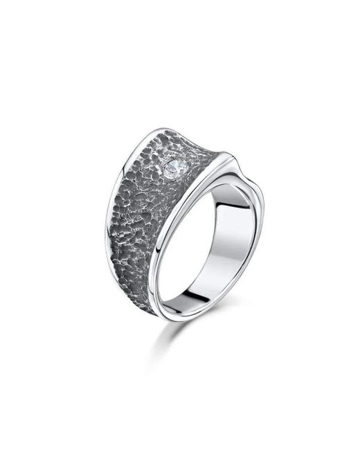 Becky Rowe - Metallic Chunky Silver Contrast Cubic Zirconia Ring | - Lyst