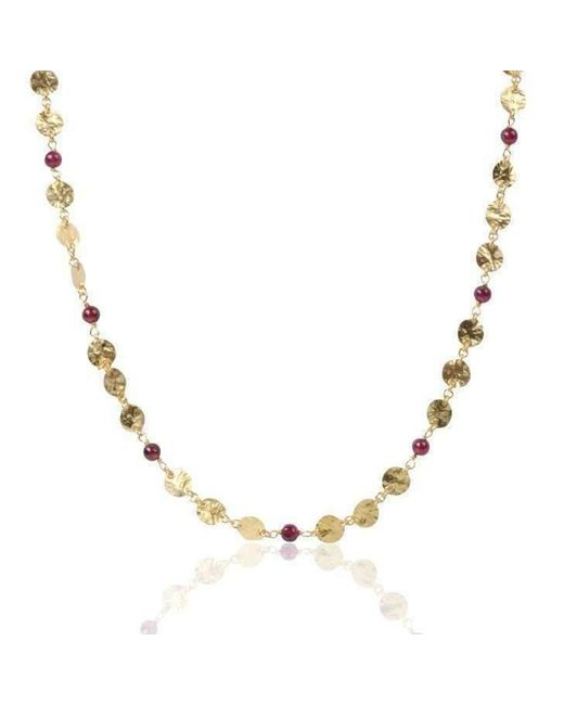 Deci London - Metallic Yellow Gold Necklace With Garnets - Lyst
