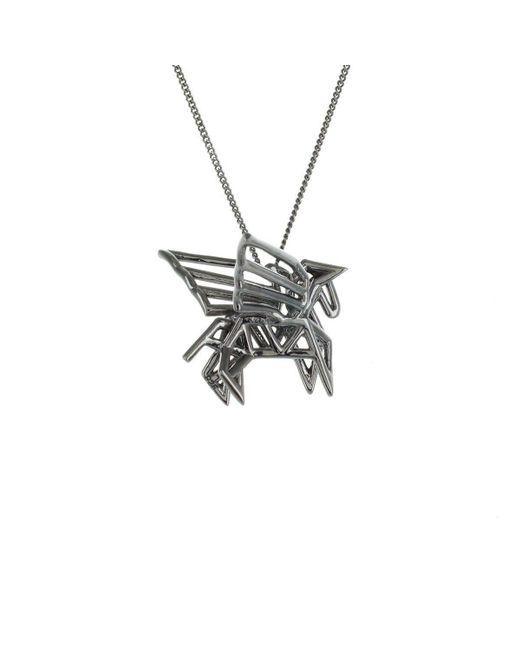 Origami Jewellery - Metallic Black Silver Frame Pegaze Origami Necklace - Lyst