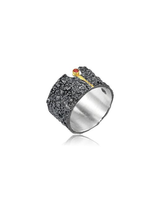 Apostolos Jewellery - Metallic The Earth Song 6 Oxidised Silver Ring - Lyst
