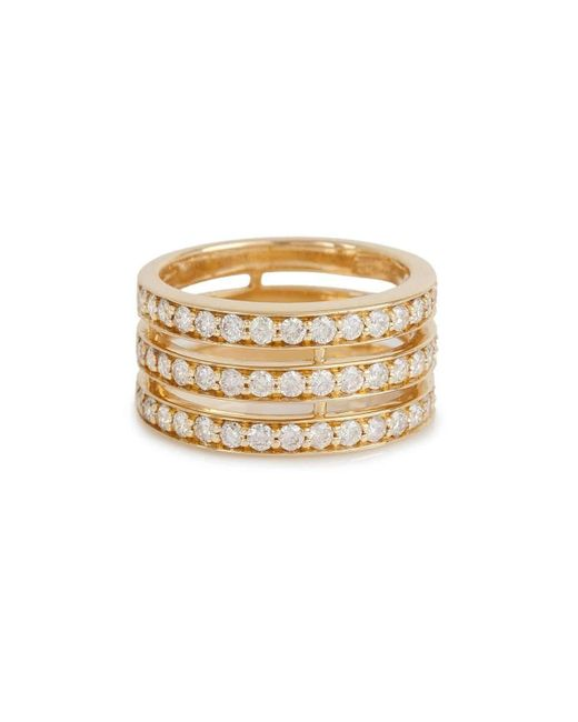 Bochic   Metallic 3 Rows Spacer Diamond Ring In Yellow Gold   Lyst