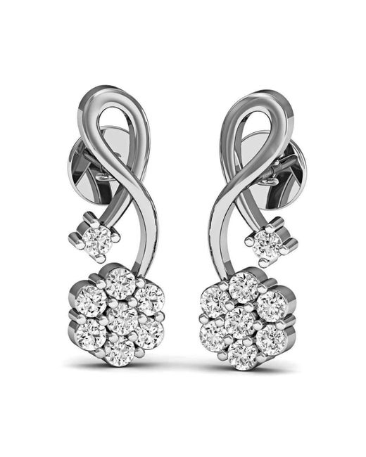 Diamoire Jewels - Metallic 16 Diamonds And Hand-carved 10kt White Gold Prong Diamond Earrings - Lyst