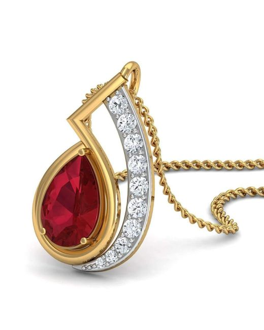 Diamoire Jewels - Metallic Nature Inspired Prong Set African Ruby And Diamond Pendant In 18kt Yellow Gold - Lyst
