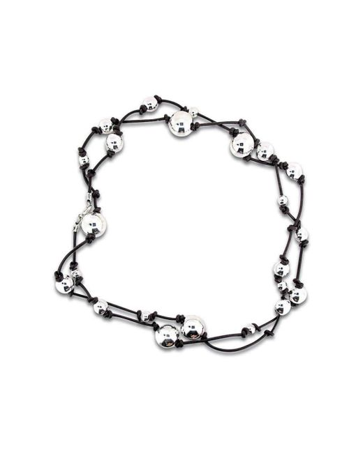 Will Bishop | Metallic Silver Beads On Leather Necklace | Lyst
