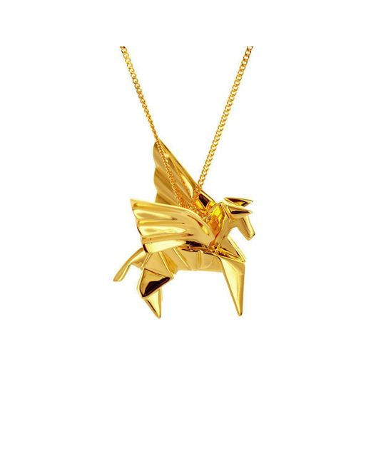 Origami Jewellery - Metallic Sterling Silver Gold Plated Pegaze Necklace - Lyst