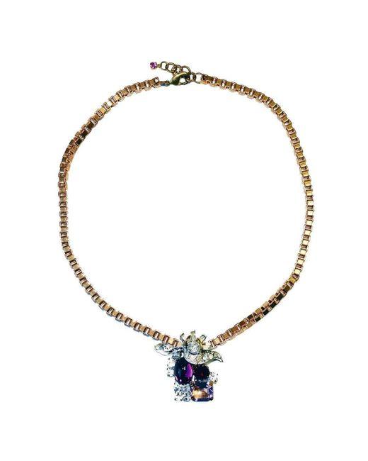 FUCHSIA by Izumi Tahara | Metallic Purple Czech Button And Rhinestone Pendant Necklace | Lyst