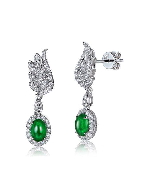 SILVER YULAN | Multicolor Cabochon Emerald Diamond Wing Earrings | Lyst