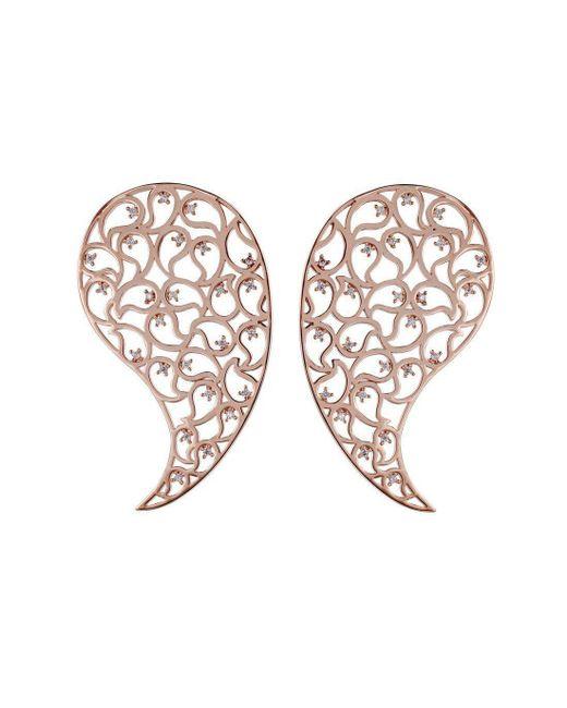 Sonal Bhaskaran - Metallic Jaali Rose Gold Paisley Earrings With Clear Cubic Zirconia - Lyst