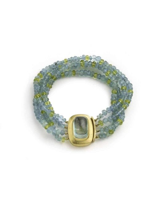 Julia Lloyd George - Green Four Stand Aquamarine And Peridot Bead Bracelet With Large 18kt Clasp With An Aquamarine Cabochon - Lyst