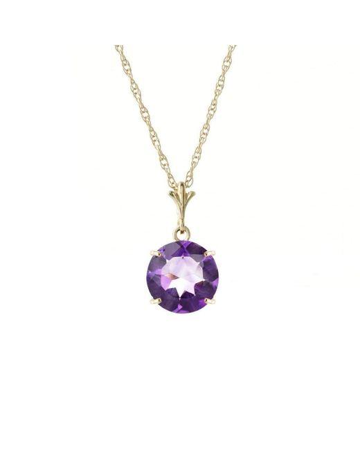 QP Jewellers - Metallic 9kt Gold Round Brilliant Cut Amethyst Pendant Necklace - Lyst
