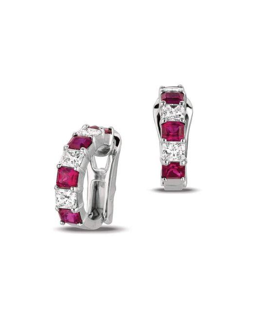 Gemlok for Gemveto - Multicolor Radiant Platinum Ruby Earrings - Lyst