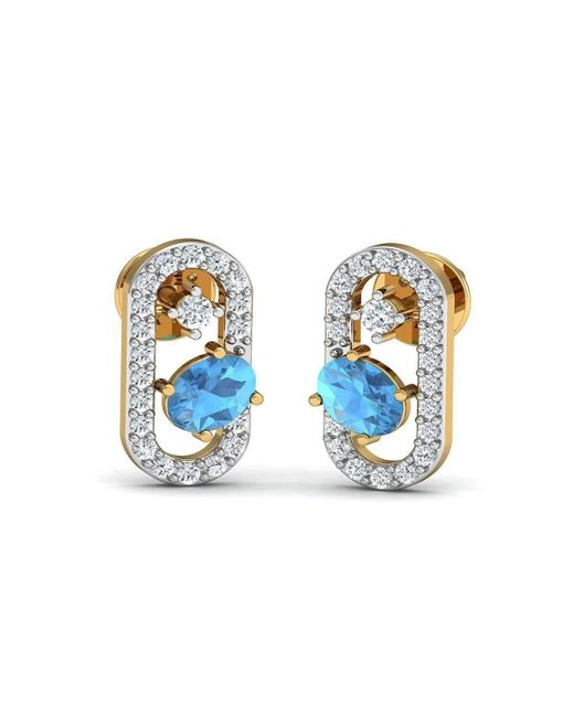 Diamoire Jewels - Metallic Oval Cut Natural Aquamarine And Diamond Earrings In 18kt Yellow Gold - Lyst