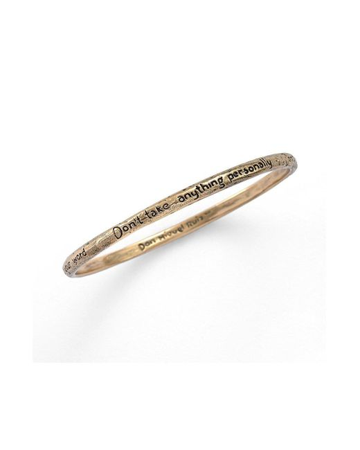House of Alaia - Metallic Four Agreements Reminder Bangle In Bronze Large - Lyst