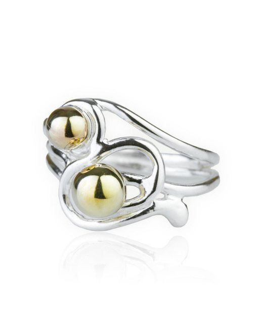 Lavan - Metallic Handmade 9kt Gold And Silver Wire Ring - Lyst