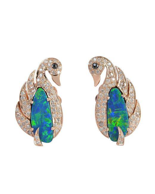 Socheec - Multicolor Swan Opal And Diamond Earring - Lyst