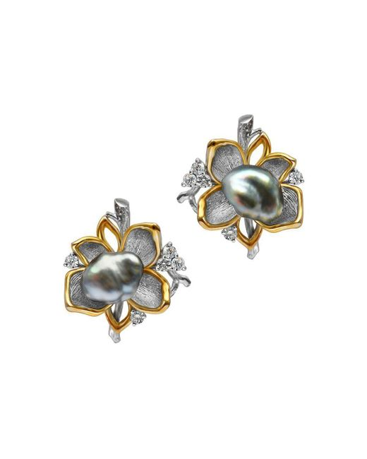 Chekotin Jewellery - Multicolor White & Yellow Gold Pearl Flower Eden Stud Earrings | - Lyst