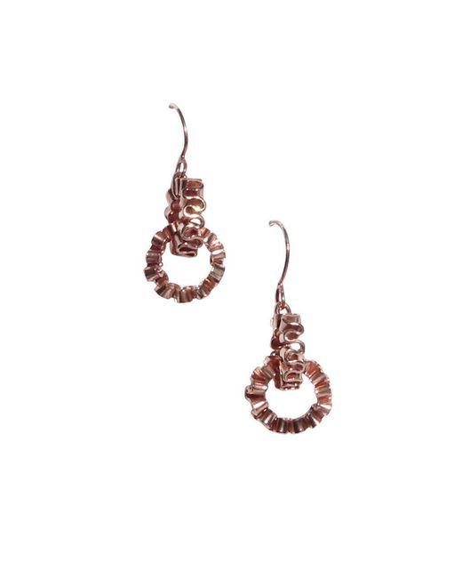 Karen Fox - Metallic Rose Gold Circle Ruffle Link Earrings - Lyst