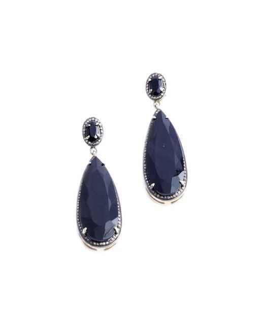 M's Gems by Mamta Valrani | Blue Dark Magic Drop Earrings With Onyx And Diamonds | Lyst