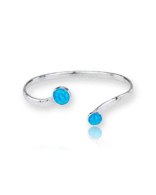 Lavan | Sterling Silver Blue Opal Torq Bangle | Lyst