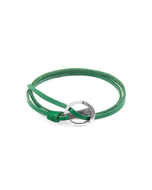Anchor & Crew - Multicolor Fern Green Ketch Silver And Leather Bracelet - Lyst