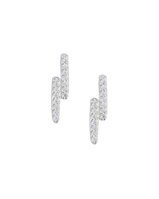 London Road Jewellery - Metallic White Gold Diamond Geo Stud Earrings - Lyst
