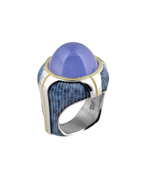 "Zoltan David - ""blue Buddha"" Chalcedony, Bronze & Platinum Ring - Lyst"